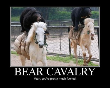 bearcavalry 450x360 Bear saves dude from lion