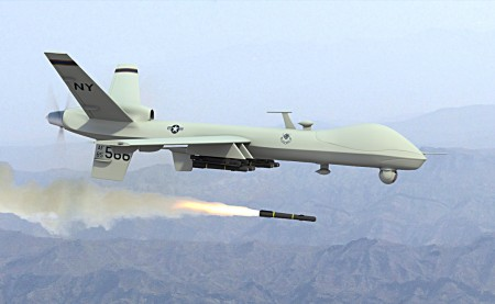 Predator Drone Firing Missile 450x277 Drone strikes threaten 50 years of international law